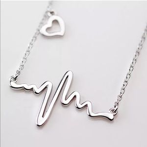 Jewelry - Adorable Heartbeat with Offset Heart Necklace-New